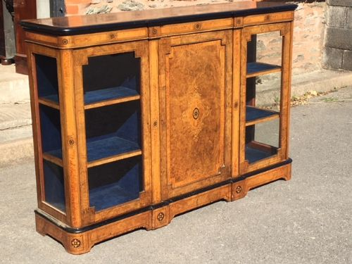 walnut side cabinet display cabinet english c 1880