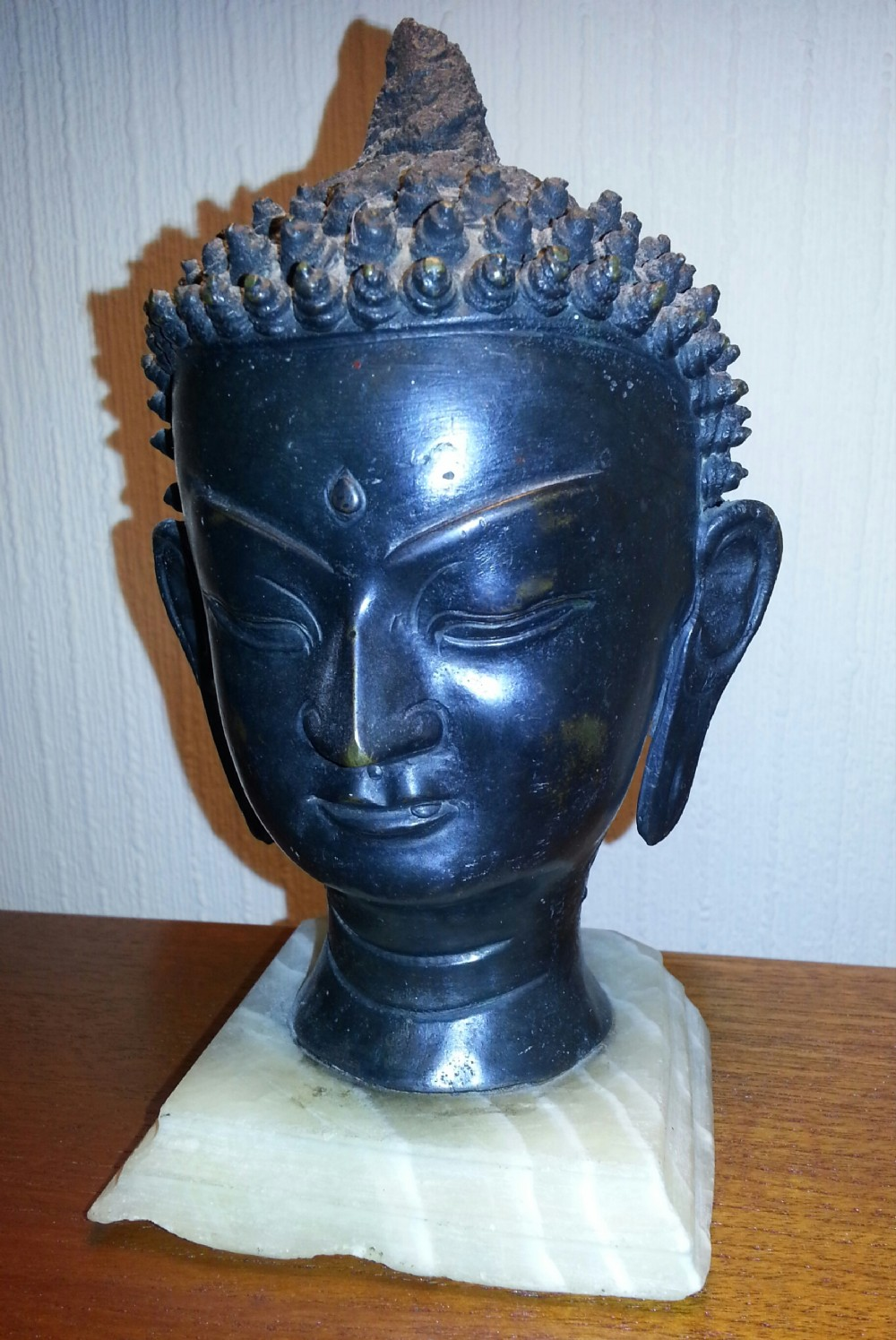 18th century bronze head of buddha