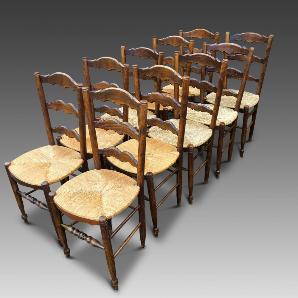 set of 10 french kitchen chairs c 1930