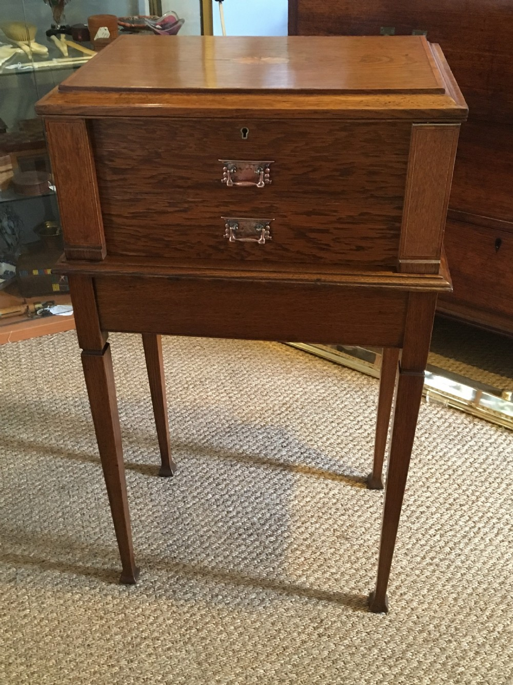 oak vanity table work box on stand