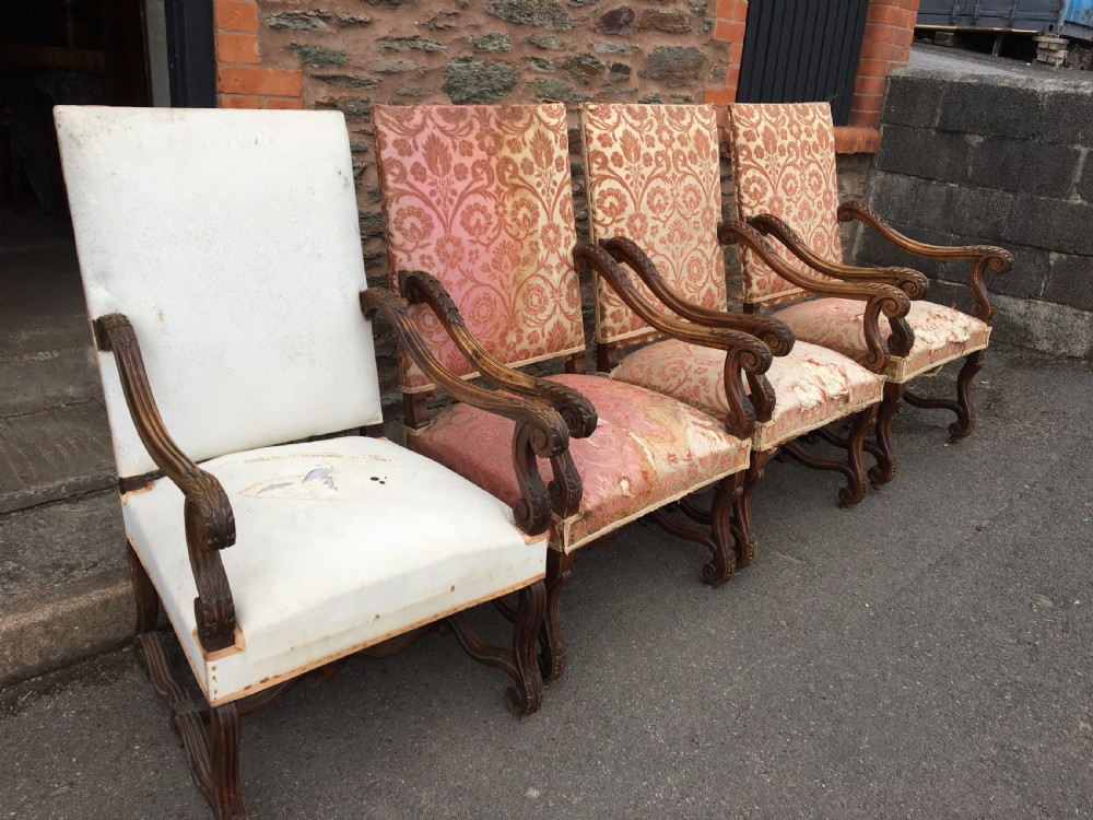 arm chairs x 4 french walnut c 1880