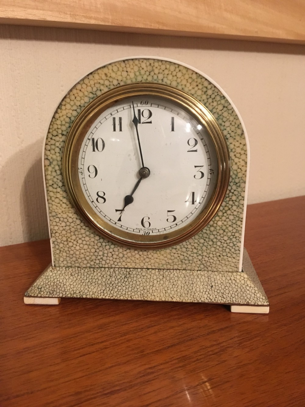 art deco shagreen mantel clock