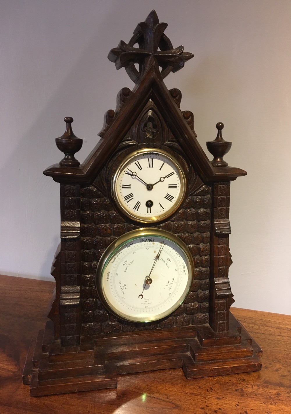 gothic revival clock and barometer
