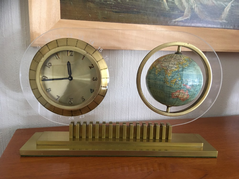 art deco globe mantel clock