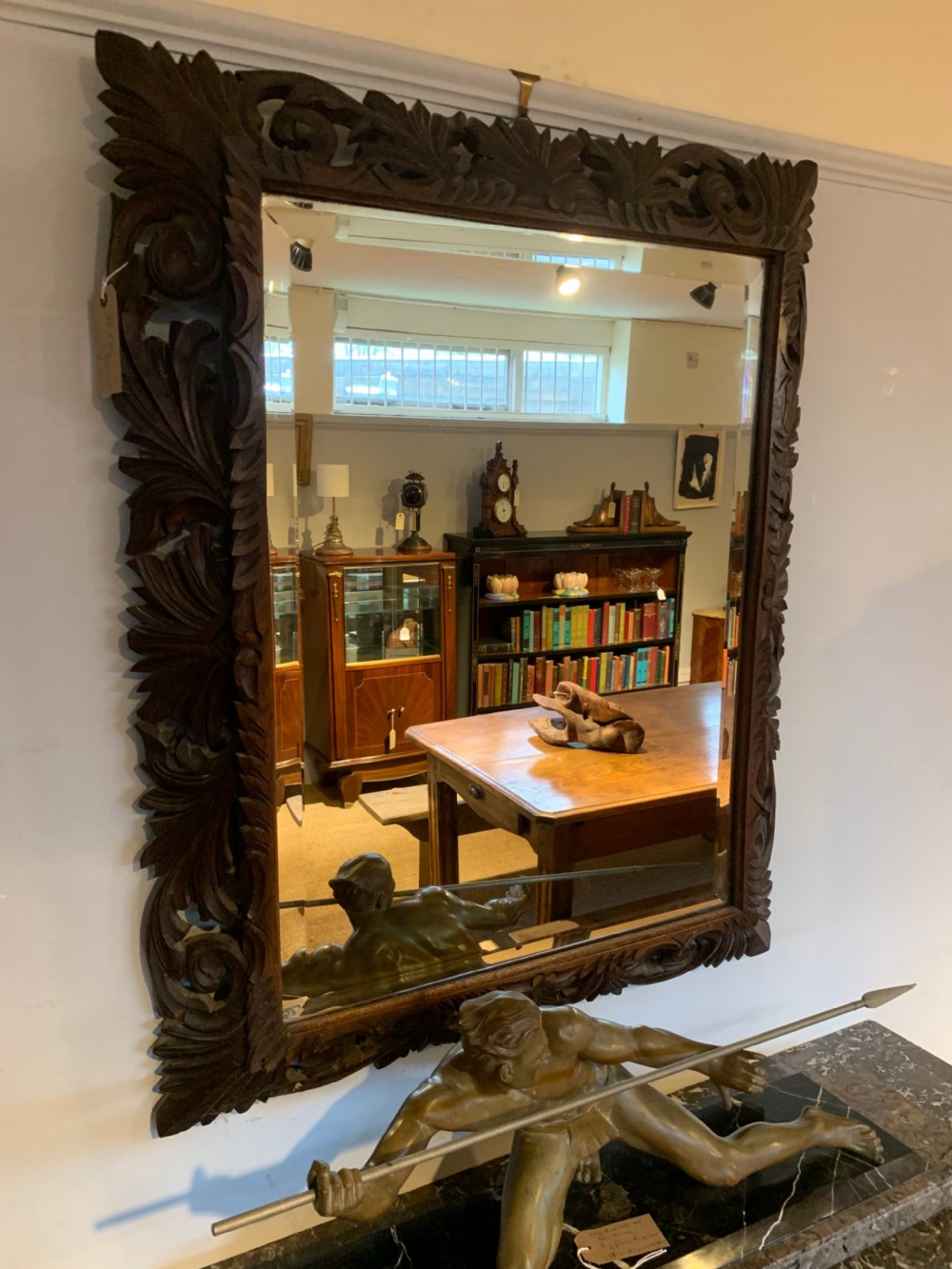 late 19th century oak framed mirror 34x44 inches
