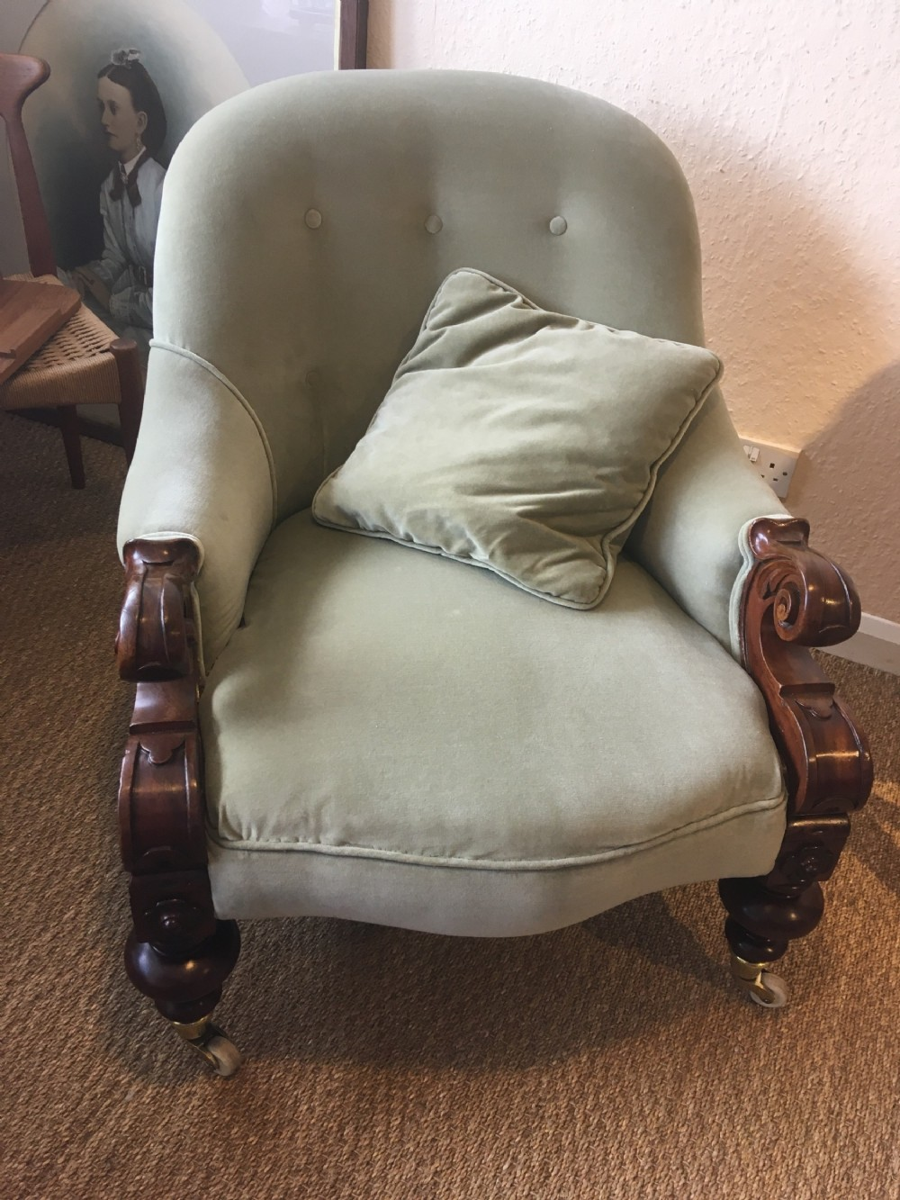 victorian button back armchair