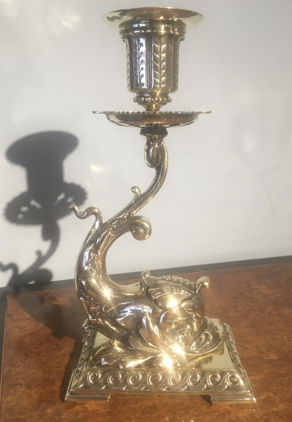 brass figural candlestick with ink well