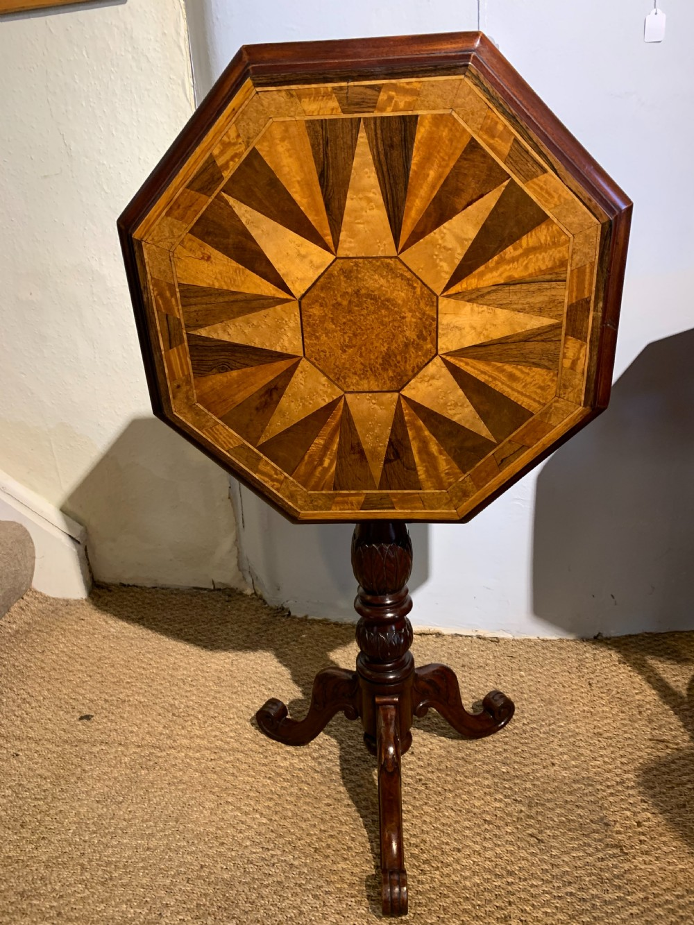 victorian lamp table with a specimen wood top